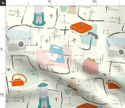 Mid Century Modern Retro Kitchen Upholstery Fabric Printed by Spoonflower BTY