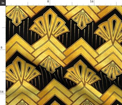 Gold Art Deco Vintage Modern Home Decor Fabric Printed by Spoonflower BTY
