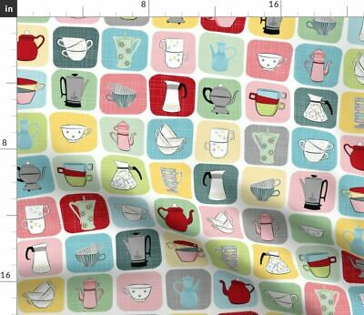 Kitchen Vintage Pastel Tea Cup Appliances Cups Fabric Printed by Spoonflower BTY