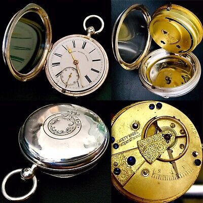 Rare Antique (1897) Victorian Jubilee Year Patented Sterling Silver Pocket Watch