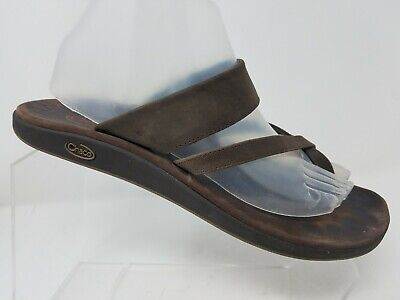f6ff72eb2 Chaco Womens Toe Ring Sandal Size 10 Brown Leather Comfort Thong Flip Flop