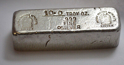 RARE VINTAGE PHOENIX PRECIOUS METALS LTD OLD POURED BAR 10.0 oz .999 Silver Bar