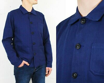 60s Style French Navy Blue Cotton Twill Canvas Chore Jacket - Various Sizes