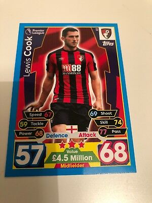 Match Attax Extra 2018 U1 Lewis Cook AFC Bournemouth Topps Trading Card