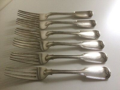 Set of 6 Antique Victorian Silver Plate Fiddle Pattern Dinner Forks - A1  Lot 1X