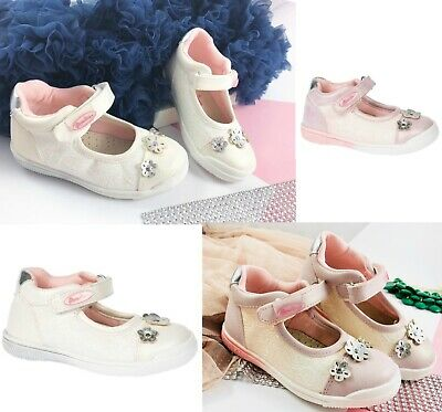 Toddler Girls Pearl Sparkly Shoes Pumps Leather Insole Party Occasion Sizes 4 -8