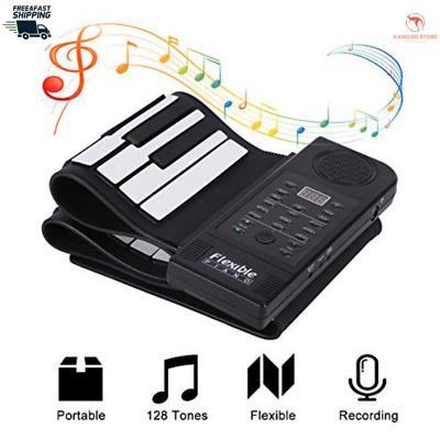PORTABLE 61 KEYS Flexible Hand Roll-Up Piano USB MIDI
