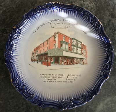 antique BLACKPOOL INDUSTRIAL CO-OP SOCIETY commemorative plate 1885-1906