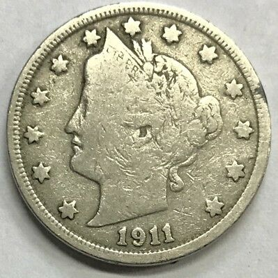"""1911 Liberty """"V"""" Nickel **** Nice Circulated Coin - L@@K At Pictures!!!!!  #439"""