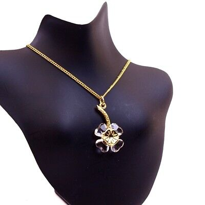 Authentic Swarovski Leaf Clover Cyrstals Charm Pendant Necklace Gold Plated 16""