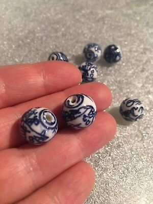 2 Beads Vintage hand Painted Blue and White Porcelain Chinese Dragon 14mm Round