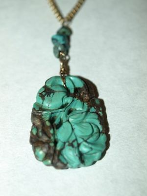 Antique Vintage Carved Chinese Turquoise Necklace on 10k gold Chain 16.5""