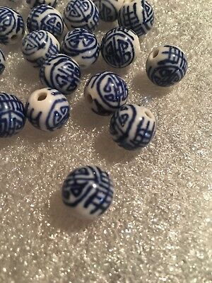 2 Beads Vintage hand Painted Blue and White Porcelain Chinese Round Shou 12mm