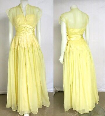 Vintage 1940's Yellow Long Wedding Prom Party Dress-Fred Perlberg