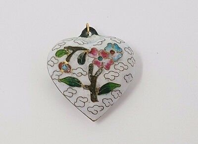Vintage Old Chinese Cloisonne White Enamel Hand Painted Heart Pendant