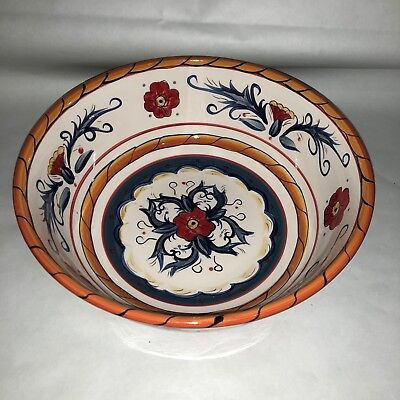 "Tabletops Gallery Italiano Hand Painted Dish 10"" Round Serving Bowl Tuscan"