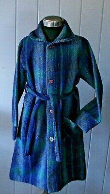 vintage childs woollen wool blend tie waist buttons dressing gown s6  86cm chest