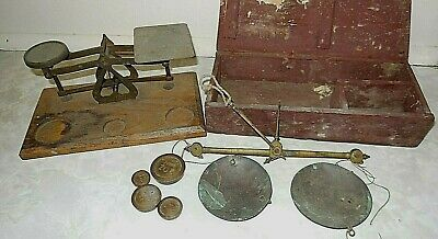 VINTAGE POST OFFICE Letter Brass  SCALES & Vintage Gold scales Avery weights