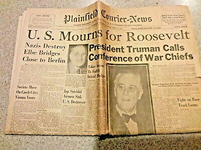 NY DAILY NEWS April 13 Th 1945 Fdr Memorial Edition Ww Ii Coverage