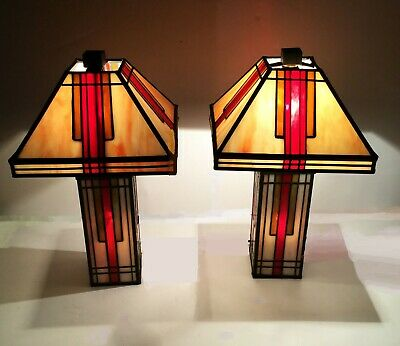 "Pair of stained glass lamps. Mission / Arts & Crafts style. Slag glass. 15"" tall"