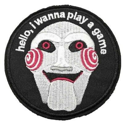"""Saw Horror Movie Jigsaw Mask Embroidered 3"""" Tall Iron on PATCH"""