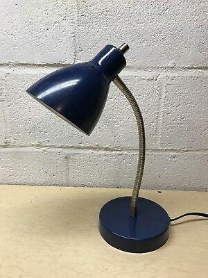 Vintage Blue Metal Mid Century Modern Gooseneck Desk Lamp Space Industrial Light