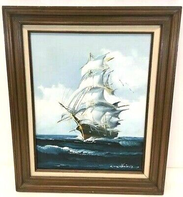 Beautiful Large Vintage Oil painting Ship Seascape & Seagulls Signed by Artist