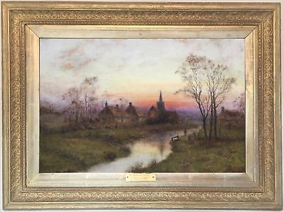 Landscape at Sunset Antique Oil Painting by Camille Corot's Circle (1796-1875)
