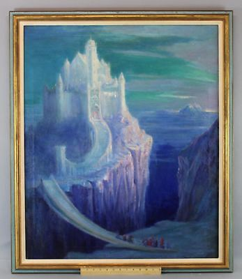 Large Antique Magical Fairy Mystical Fantasy Castle, American Oil Painting