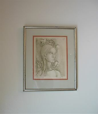 Vintage Signed Drawing Expressive ol' Artist by French Artist Pierre Henry 1924