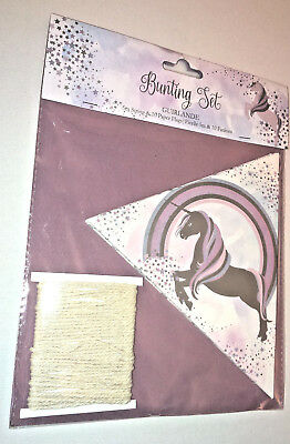 BELIEVE IN UNICORNS BUNTING Pink Lilac Silver 5m NATURAL STRING 10 TRIANG FLAGS