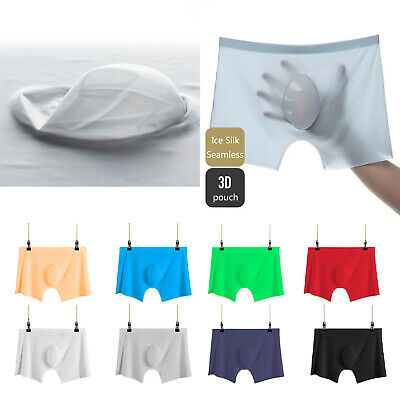 Mens Ice Silk Smooth Underwear Boxer Briefs Shorts Plus Size Underpants D850