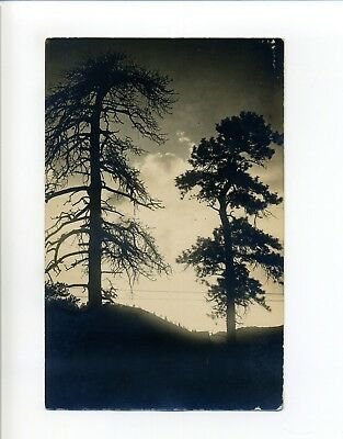 Sunset in the Rockies RPPC real photo postcard, Christmas Greetings, Amherst MA