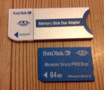 SanDisk Memory Card Stick Pro Duo 64MB + Duo Adapter For Sony Cybershot Cameras