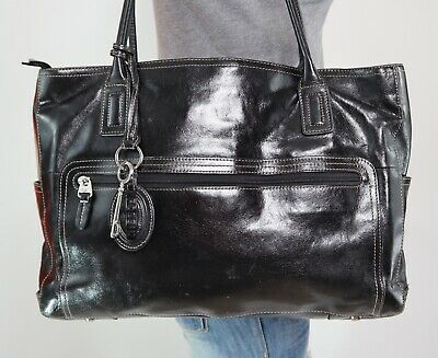9135a101d28 FOSSIL Executive Large Black Leather Shoulder Hobo Tote Satchel Slouch  Purse Bag