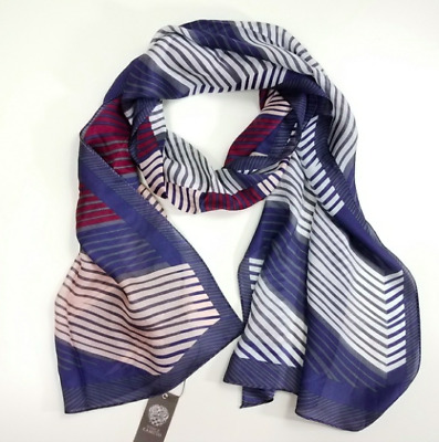 Vince Camuto Bloom Print Silk Scarf Marine Blue  Absolutely Beautiful!!