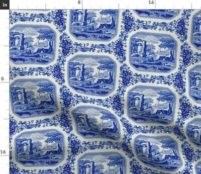 Italian Spode Blue And White Porcelain Tea Fabric Printed by Spoonflower BTY