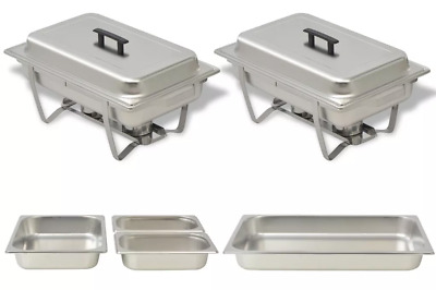 2 Piece Stainless Steel Chafing Dish Set Hot Food Buffet Server Plate Tray Stand