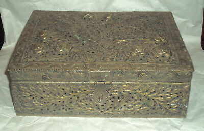 Antique Indian Islamic Silver plated Rectangular Brass DECORATIVE JEWELLERY BOX
