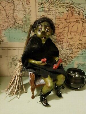 Sonstige Produkte für Puppenstuben & -häuser Artisan Dolls House Polymer Clay Witch/ Hag  Ooak Figure 1:12th in glass display