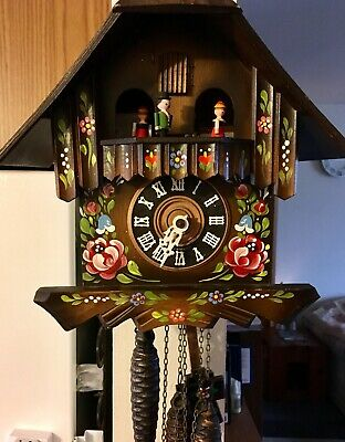 Black Forest German Floral Painted Swiss Musical Cuckoo Clock Works! Free Ship