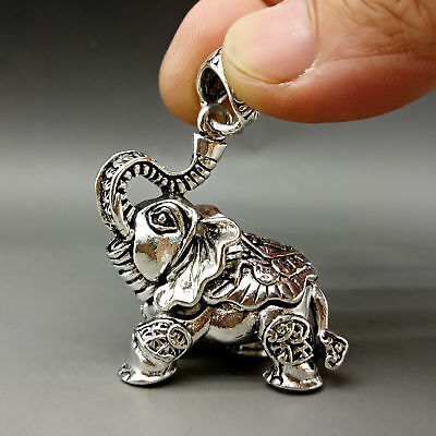Collectable Tibet Silver Hand Carved Elephant Model Pattern Pendant y114
