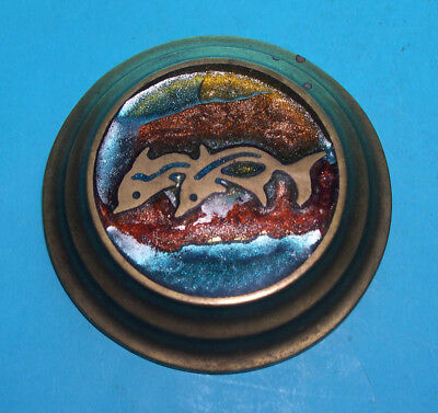 Vintage Brass And Enamel Round Paperweight - Attractive Dolphin Scene.