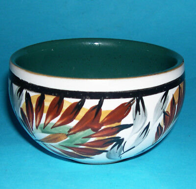 Studio Pottery (Bourne?) - Attractive Hand Painted Multiple Leaf Pattern Bowl.