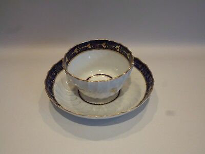 Royal Worcester Dr. Wall Period Porcelain Tea Bowl & Saucer Bowl - 19Th Century
