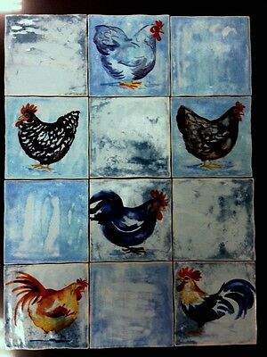 Spanish hand glazed shaded stoneware tiles for wall or floors with roosters