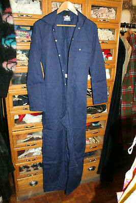 1970s Vintage Boiler Suit overall blue womans 10 retro workwear old stock  blue