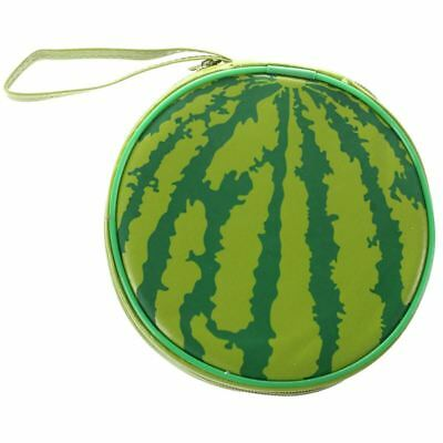 Green Watermelon Pattern 24 Capacity CD DVD Round Wallet Case Holder A8S1