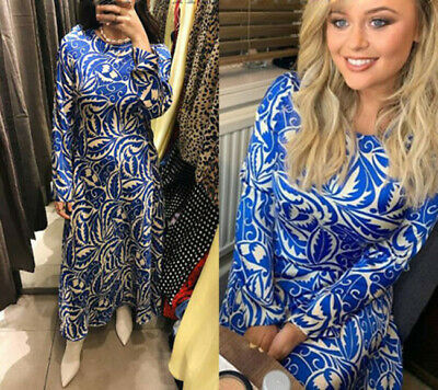 8f8ca6e490 ZARA NEW LONG Printed Dress Beige Blue Flowing A Line Sizes Xs S M 2163/645