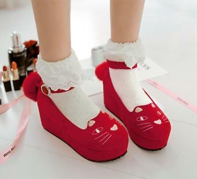 Sweet Ladies Embroidery Cat Tail Mary Janes Ankle Strap Wedges High Heeled Pumps